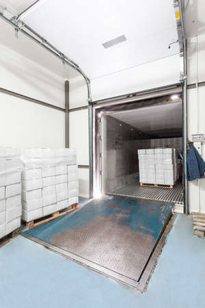 cold storage: Interior of a warehouse, loading dock, vertical view