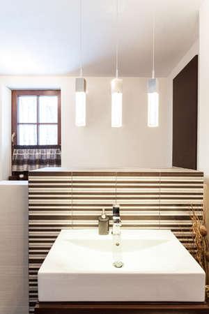 bathroom wall: Grand design - closeup of modern rectangular vessel sink Stock Photo