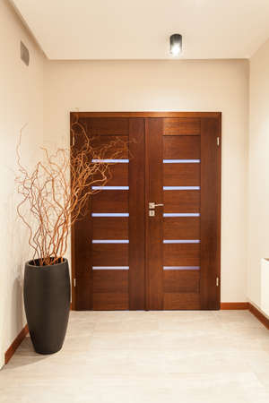 hallway: Grand design - wooden door, main entrance Stock Photo