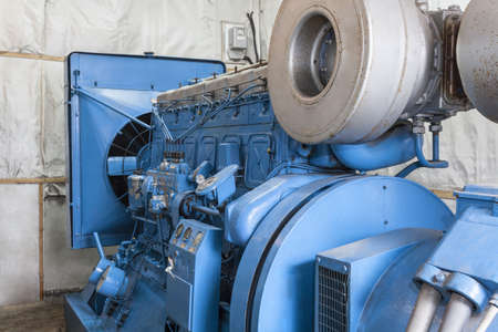 diesel generator: Closeup of modern generator in a factory