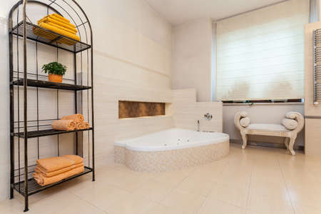 bathroom design: Classy house - classic bathroom with bright colours Stock Photo