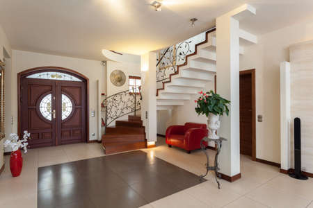 Classy house - entrance, living room and staircase photo