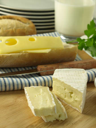 Bread, cheese and milk for light vegetarian meal photo