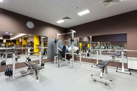 health facilities: Gym with special equipment, empty, horizontal Stock Photo