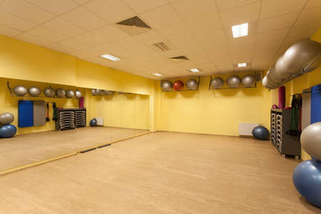 gym ball: Interior of fitness gym with special equipment