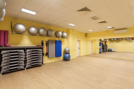 New equipment used in fitness, modern gym photo