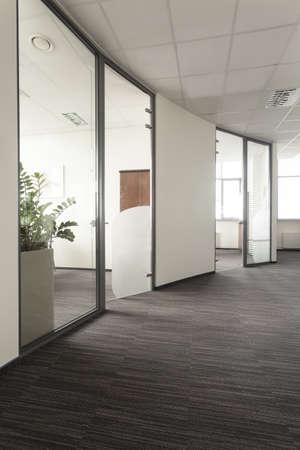Modern interior of an office, glass door photo