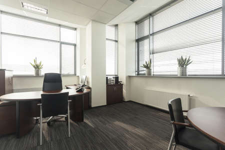auditorium: Interior of a new contemporary office, table Stock Photo