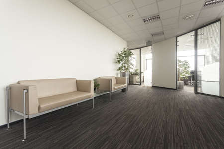 modern sofa: Main hall in a new contemporary office Stock Photo