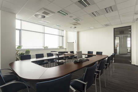 meeting room: Empty conference hall in a modern office interior