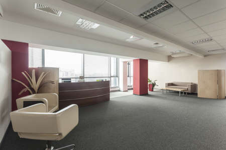 bank interior: Modern spacious office with a huge window