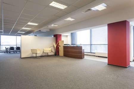 bank interior: Spacious office interior and a reception lobby