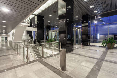 bank interior: Interior of a spacious modern office building