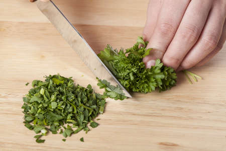 coriander: Chopping the parsley with a knife in the kitchen