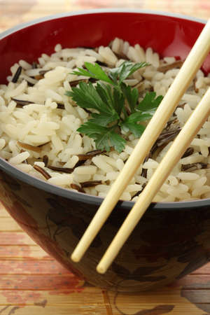 lowfat: Closeup of bowl of white and wild rice