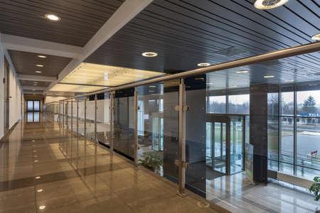 Interior of a modern futuristic office building Stock Photo