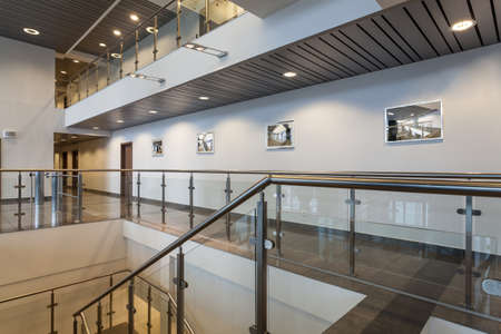 lobbies: Modern structure of a new office building Stock Photo
