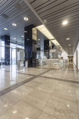 futuristic interior: Spacious hall in a modern office building