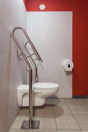 Interior of toilet with an appliance for disabled photo