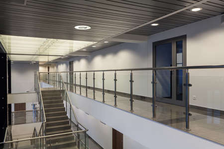 futuristic interior: Interior of a modern building with an office Stock Photo