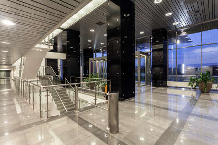 bank interior: Interior of a modern futuristic building Stock Photo