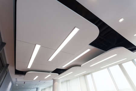 bank interior: View of an original futuristic ceiling with lighting