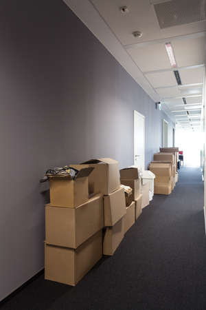 packaging move: Heap of cardboard boxes, moving to new house Stock Photo