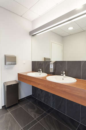 Elegant modern public bathroom interior, vertical photo