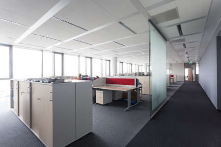 bank interior: Place to work in modern office building Stock Photo