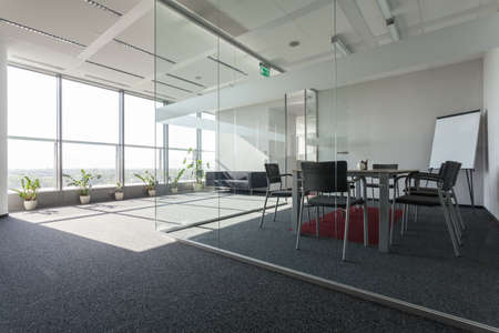 Spacious interior with a modern conference room