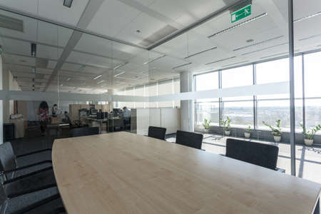 office appliances: Glass meeting room in a new office centre Stock Photo