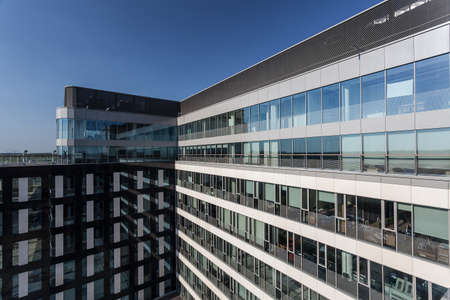 company building: New modern building with offices, outdoor view