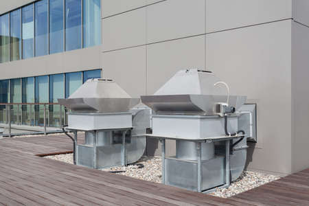 cooling system: Ventilation appliance on a roof of a skyscraper