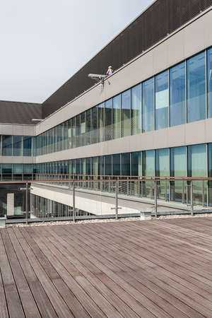 Terrace of a new modern office building photo