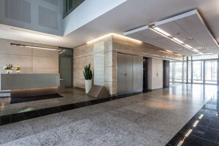 Interior of an office building with reception photo