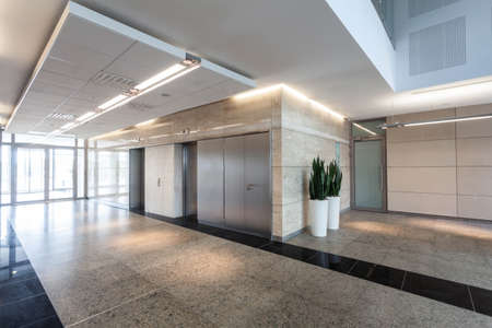 office lobby: Modern business centre, corridor and elevators