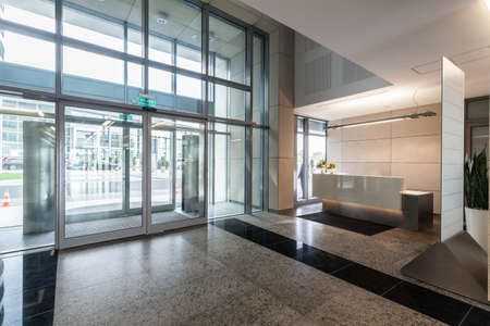 bank interior: Entrance and reception in a new contemporary office building