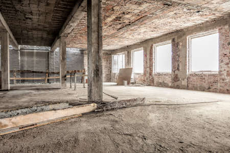 abandoned factory: Interior of an empty old house structure
