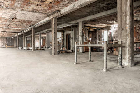 new site: Interior of a new building structure, construction site Stock Photo