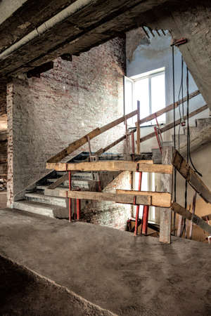 Lift shaft and staircase on a construction site photo