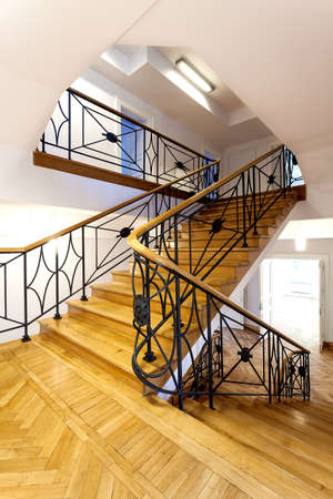 wooden stairs: Elegant historical stairs in a museum