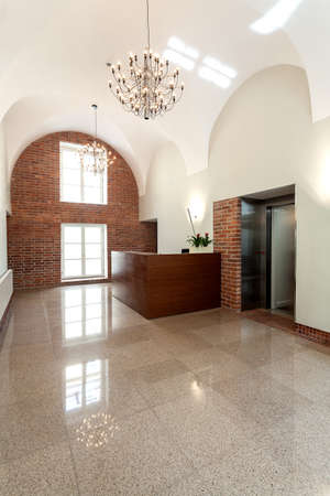 Entrance to a hotel, reception with a lift Stock Photo - 19977362