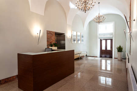 hotel hall: Reception in an elegant hotel in classic style