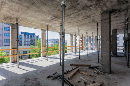Metal support for ceiling at the building site Banco de Imagens