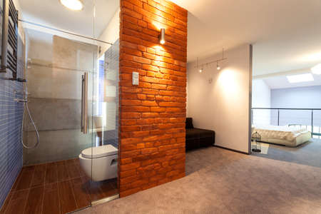 living room interior: Bathroom and bedroom in a modern loft Stock Photo