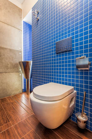Closeup of a toilet in modern blue bathroom photo