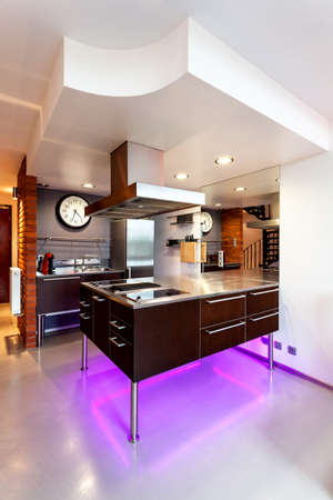 New modern kitchen appliance with neon lights photo