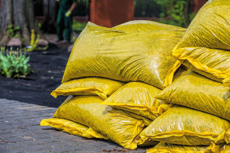 Heap of sacks with compost