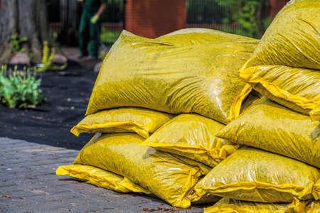 sackful: Heap of sacks with compost
