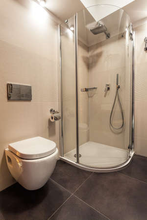 toilet seat: Toilet seat and shower in white bathroom